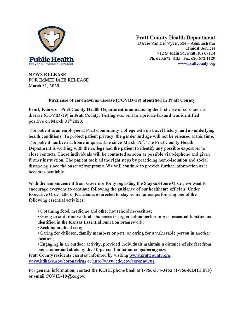 Pratt County Health Dept Press Release
